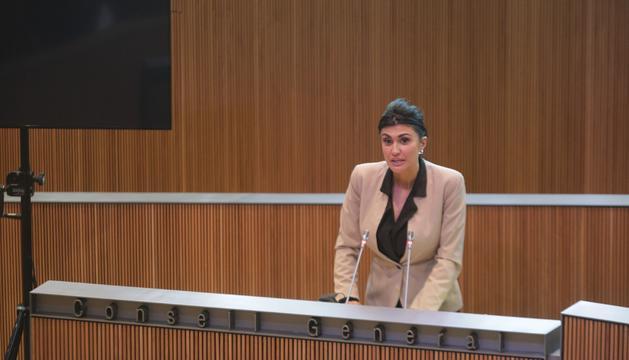 Carine Montaner en una sessió al Consell General