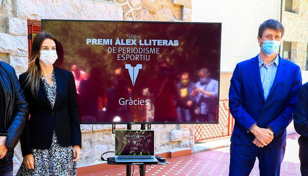 Gorka Aixàs, Sílvia Riva, Xavi Mujal i Ignasi de Planell a la presentació del premi.