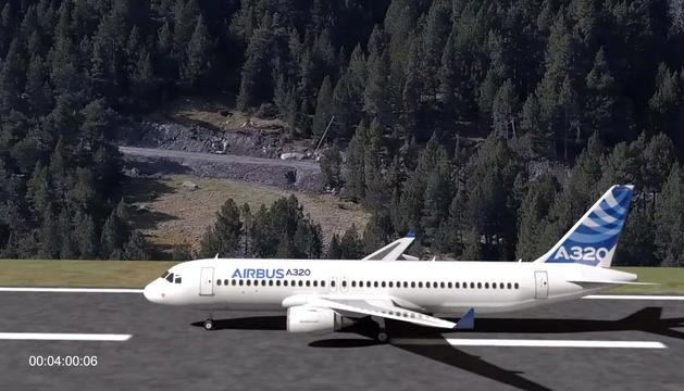 Imatge virtual d'un avió a la pista de l'aeroport de Grau Roig.