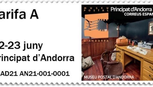 Segell amb la imatge del Museu Postal d'Andorra
