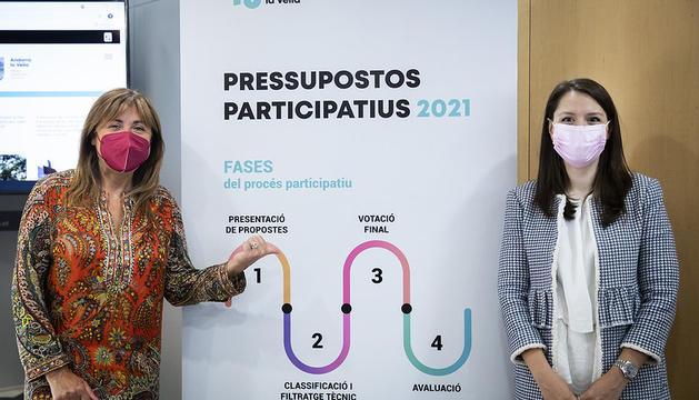 La cònsol major, Conxita Marsol i la consellera de Desenvolupament estratègic i comercial i de Projectes participatius, Meritxell López, durant la presentació