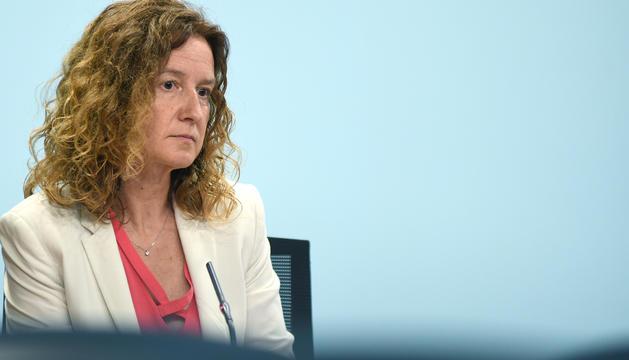 La ministra Calvó durant la presentació del projecte de Llei de l'Economia Circular.