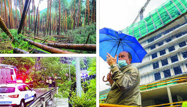 A dalt a l'esquerra, les destrosses al bosc de l'Aldosa. A baix a l'esquerra, l'arbre caigut a la CG-3. A la dreta, l'afectació a Les Terrasses d'Emprivat.