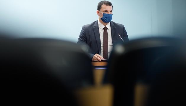 Jordi Gallardo durant la roda de premsa posterior al consell de ministres