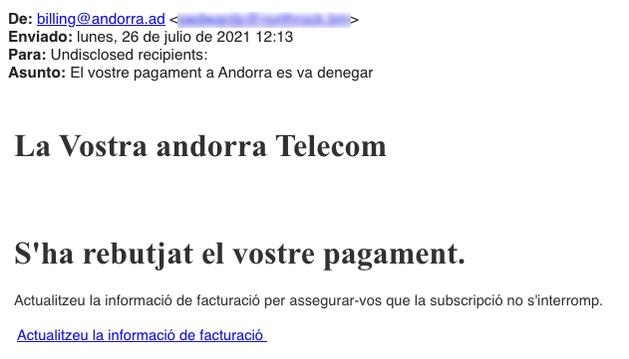 Correu suplantant Andorra Telecom