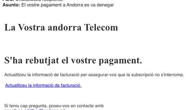 Correu suplantant Andorra Telecom.
