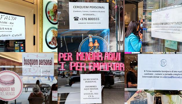 Diversos cartells de negocis que cerquen personal, fotografiats ahir.