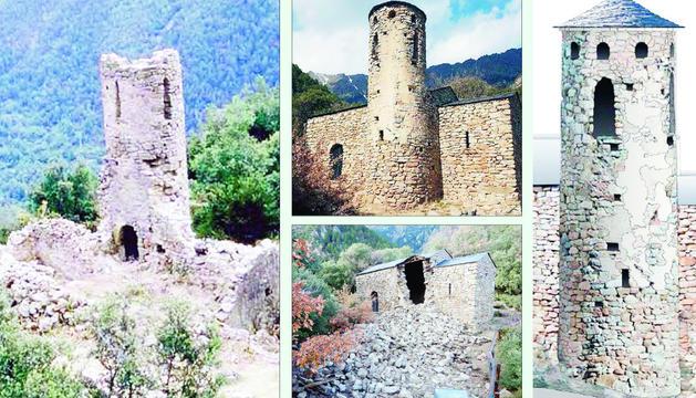 Estat de l'església abans de la rehabilitació del 1982. El 2019, abans i després de l'esfondrament. I com quedarà reconstruïda.