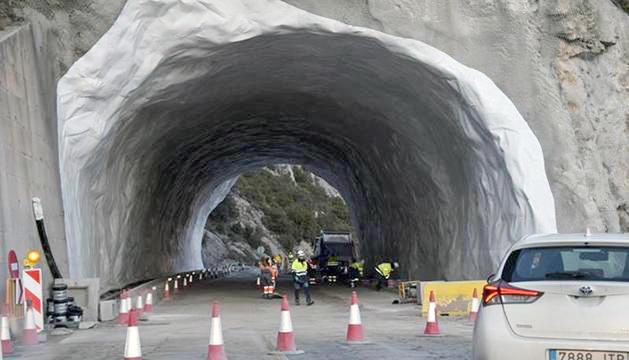 Obres al túnel de Tresponts durant aquesta primavera.