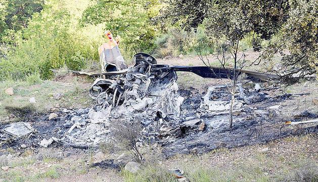 Estat en què va quedar l'helicòpter sinistrat.
