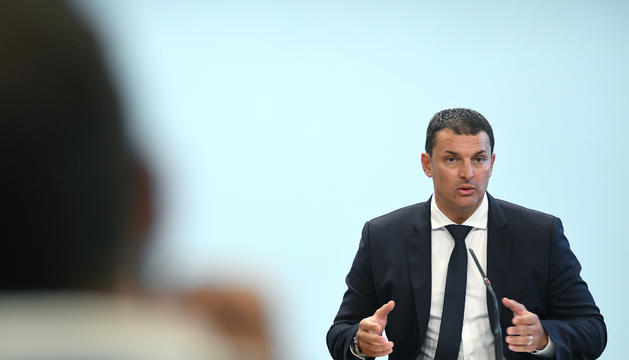 Jordi Gallardo durant la roda de premsa del Consell de Ministres.