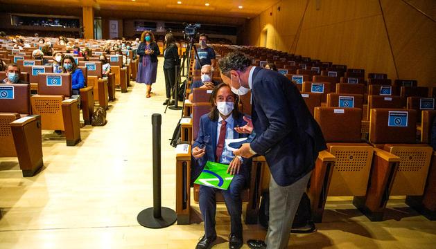 El cap de Govern, Xavier Espot, i el secretari d'Estat Landry Riba, abans de l'acte.