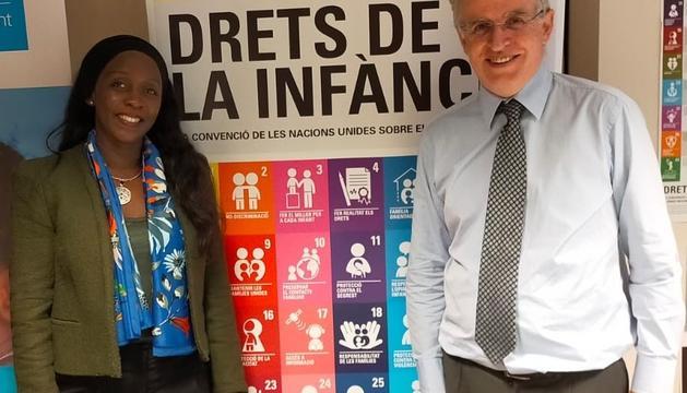 La sots-directora d'Unicef Bhutan, Marie-Consolée Mukangendo amb el director d'Unicef-Andorra, Albert Mora