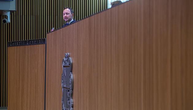 Xavier Espot durant el discurs d'orientació