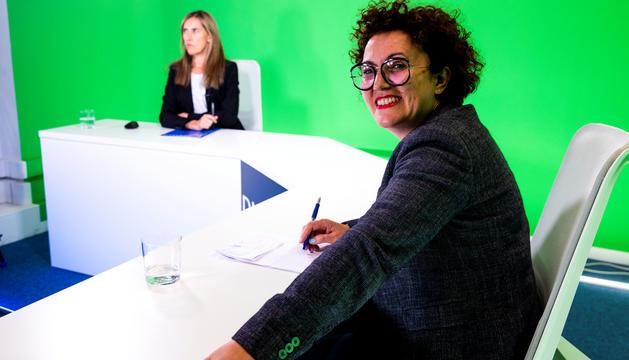 La ministra d'Afers Socials, Joventut i Igualtat, Judith Pallarés, al plató de Diari TV.
