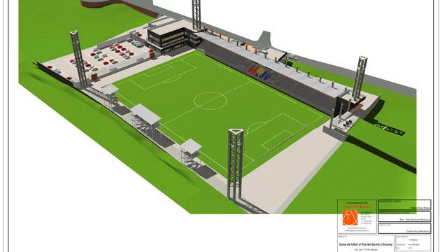 Una imatge general del projecte del nou estadi que la Federació de Futbol construirà a Encamp.