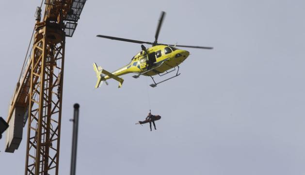 Rescat en helicòpter del treballador accidentat