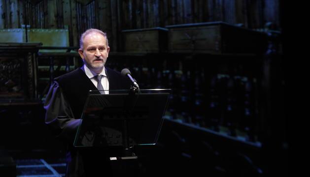 El degà dels advocats Xavier Sopena ha tancat amb un discurs l'acte de la cerimònia de la toga