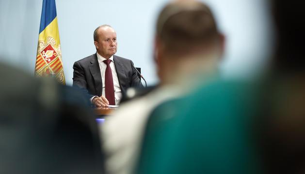 El ministre de Justícia i Interior, Josep Maria Rossell, durant la roda de premsa posterior al Consell de Ministres.