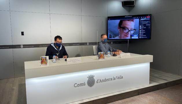 El conseller Miquel Canturri, el cap d'àrea Jan Cartes i la directora del festival Pepa Plana.