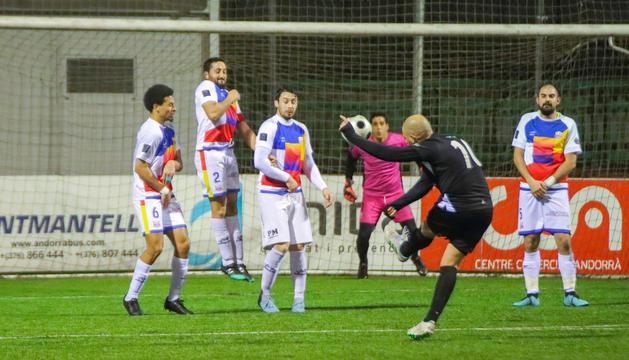 El CE Jenlai durant un partit de la temporada passada davant l'Ordino.