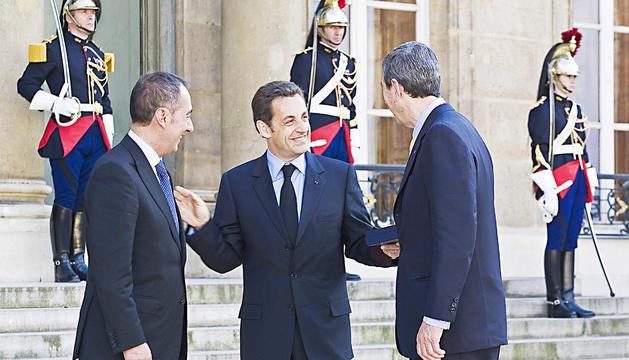 Nicolas Sarkozy i Albert Pintat, en una recepció a l'Elisi.