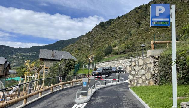 L'entrada del nou aparcament a Les Bons