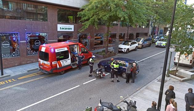 El cotxe i la moto implicats en l'accident