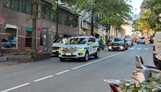 Un vehicle de la policia al lloc del sinistre a Prat de la Creu