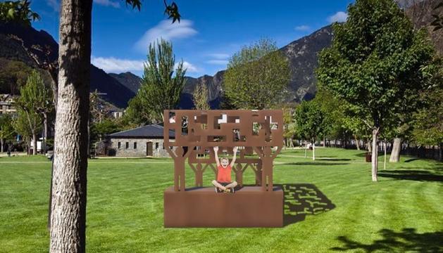 Render del projecte guanyador de l'escultura als voluntaris.