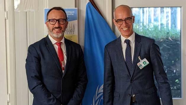 El ministre Filloy amb el director de l'Oficina Federal d'Habitatge de Suïssa, Martin Tschirren