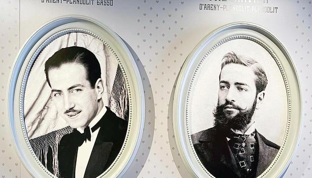 Retrats d'època dels dos protagonistes de l'exposició: Xavier i Pau Xavier d'Areny-Plandolit.