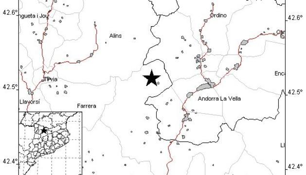 Localització del sisme segons Andorra Recerca