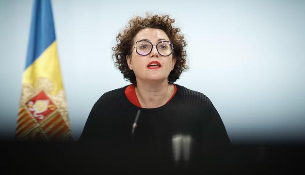 La ministra d'Afers Socials,Joventut i Igualtat, Judith Pallarés durant la roda de premsa